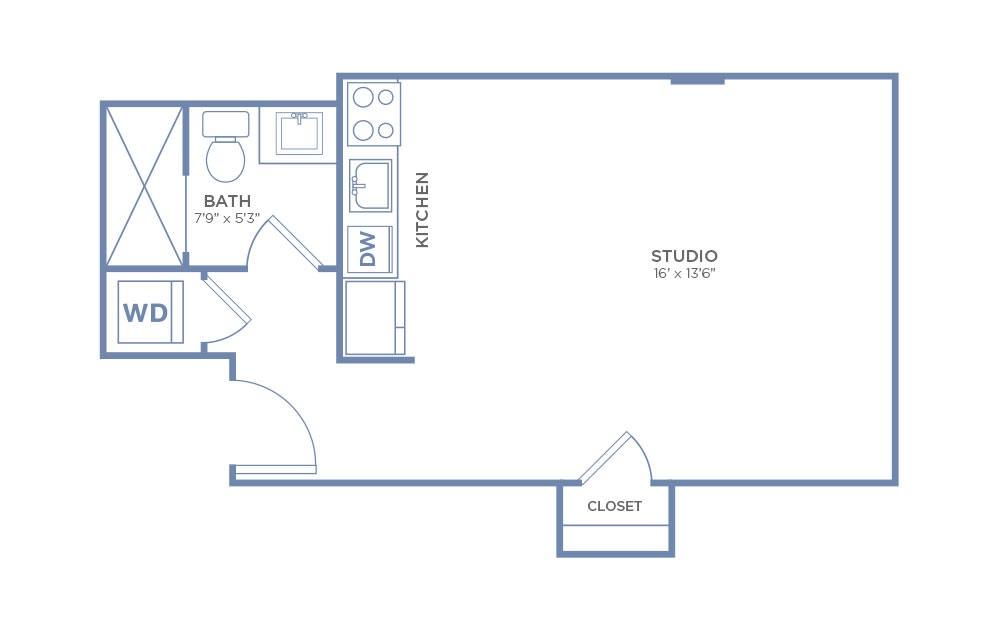Studio - Studio floorplan layout with 1 bath and 406 square feet. (2D)